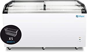 Chingoo Commercial Chest Freezer Glass Top 16 Cu.ft Capacity, 60 Inch Ice Cream Display Freezer with 5 Removable Storage Basket