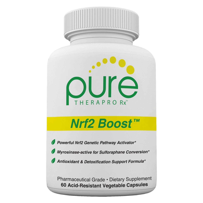 Nrf2 Boost - 60 Veggie Capsules   Oxidative Stress Formula   NRF-2 Activator with Sulforaphane   Contains: truebroc, Curcumin, Green Tea (EGCG), Trans-Pterostilbene (Silbinol), Myrosinase & BioPerine by Pure Therapro Rx