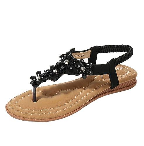 55b7fd18f5e6 Women s Fashion Floral Crystal Elastic Band Flip Flops Wedge Sandals Beach  Shoes