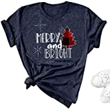 Oriental Pearl Merry and Bright Shirt Women Buffalo Plaid Christmas Tree Graphic Tees Funny Xmas Gift T Shirt