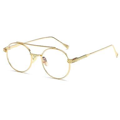 2bcba1300a Men Women Round Sunglasses Retro Metal Frame Eyeglasses Korean Clear Lens Glasses  Male Female Optical Circle Plain Mirror  Amazon.co.uk  Clothing