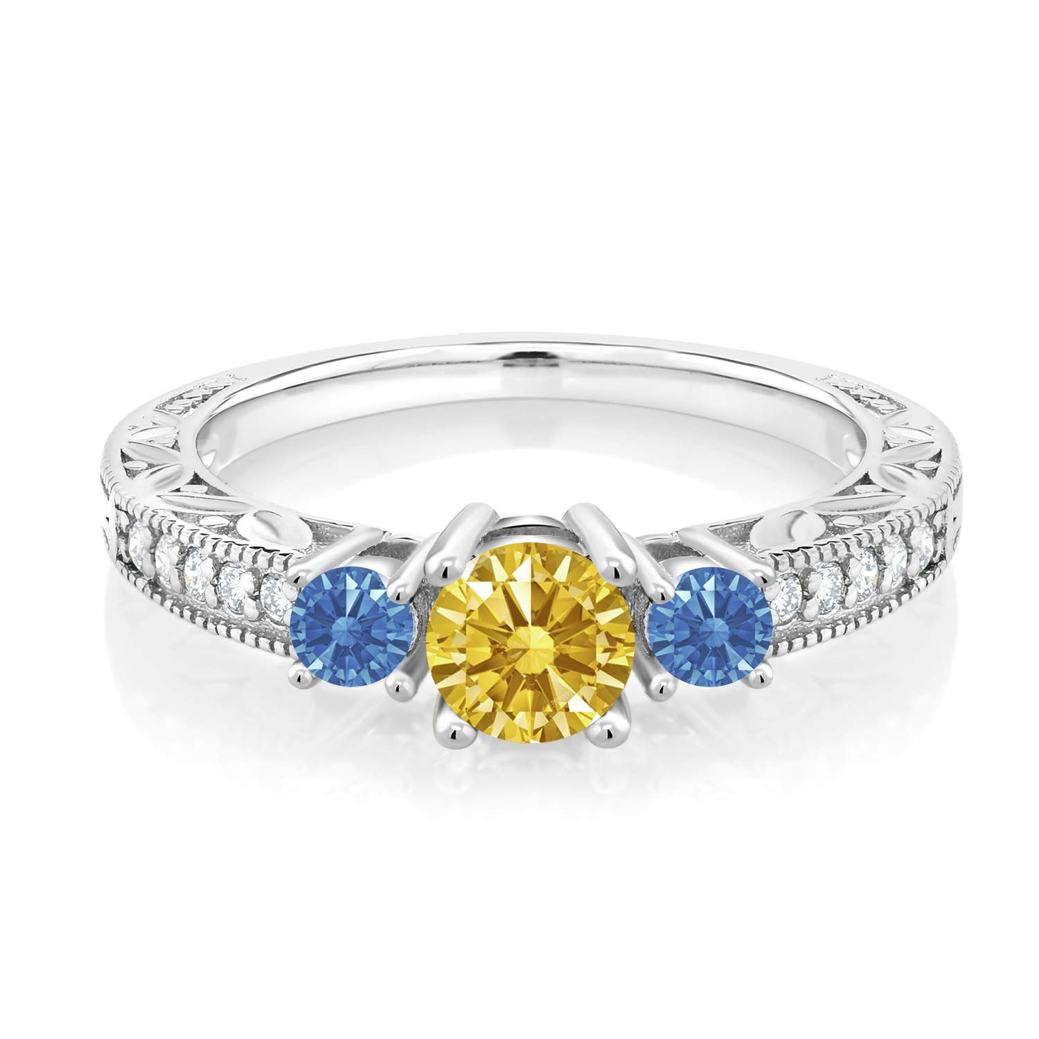 925 Silver 3-Stone Ring 5mm Set with Golden Yellow Zirconia from Swarovski