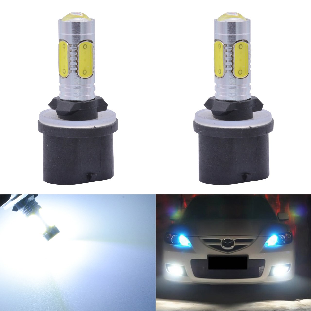KaTur 1600 Lumens 7.5W COB H1 LED Aluminum Fog Lights DRL Turn Signals Light Bulbs Day Running Light 12V White 6000K (2-Pack)
