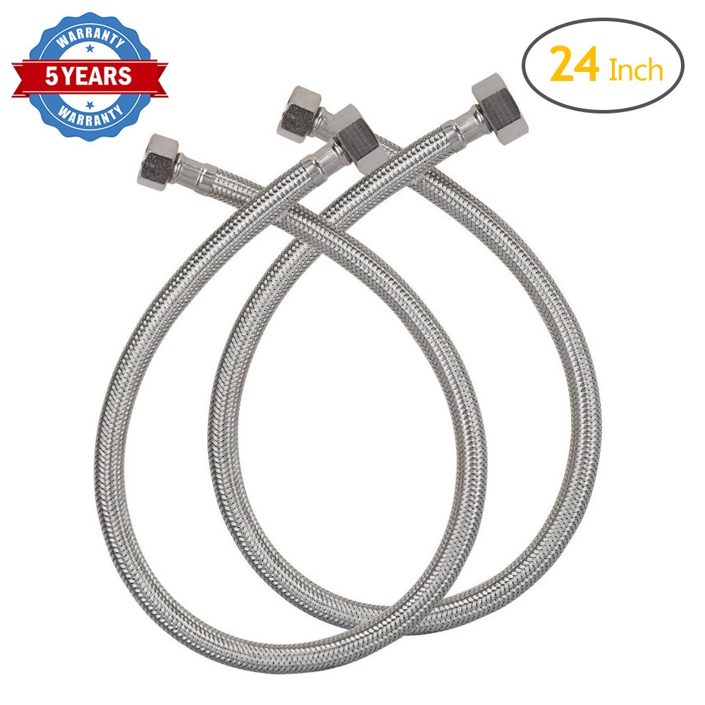 Amazon.com: HOMEIDEAS 24-Inch Faucet Connector Braided Stainless ...