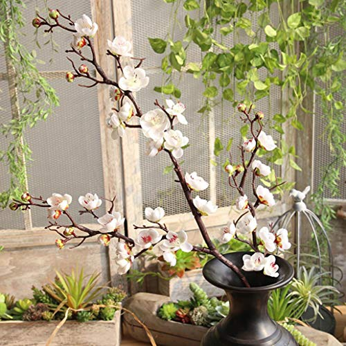 Artificial Flowers, MaxFox Fake Plum Blossom Bouquet Silk Flower Bouquets Home Office Wedding Party Decor (White) by MaxFox (Image #1)