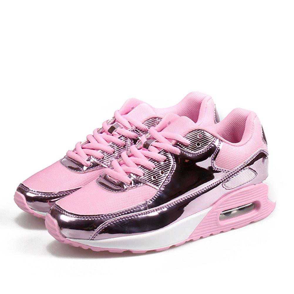 Damenschuhe Turnschuhe Paar Schuhe Casual Retro Sportschuhe im Freien Bequeme Lauf Männer und Frauen mit dem gleichen Absatz Schwarz Gold Rosa Silber36-46 (Farbe   Rosa Größe   36)
