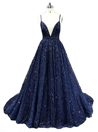 Ruolai Shiny Backless V Neck A Line Prom Dress Blue Evening Dress Long 2 3bc6f5059