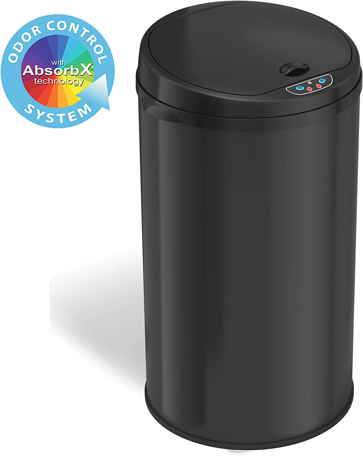 iTouchless Garbage Bin, Perfect for Home, Kitchen, Office 8 Gallon Touchless Sensor Trash Can with AbsorbX Odor Filter System, Round-Steel Black