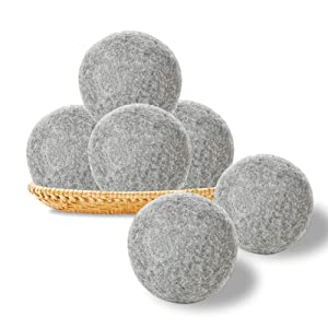 Wool Dryer Balls 6 Pack XL, 100% Organic Natural New Zealand Wool for Laundry, Reducing Static & Drying Time, Premium Reusable Natural Fabric Softener, No Chemical Composition, Gray