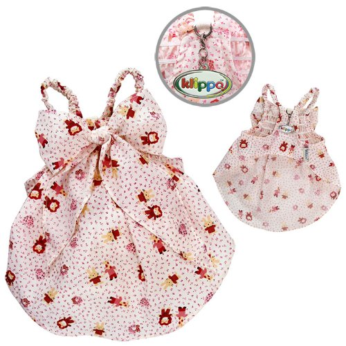Klippo Pet Adorable Dog Sundress with Large Bow and Fun Animal Prints (X-Small)