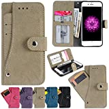 iPhone 6S Case, iPhone 6 Wallet Case, Firefish PU Leather Flip Book Folio Purse Cover with Muiti Credit Card Slots Cash Holder for Apple iPhone 6/6S -Grey