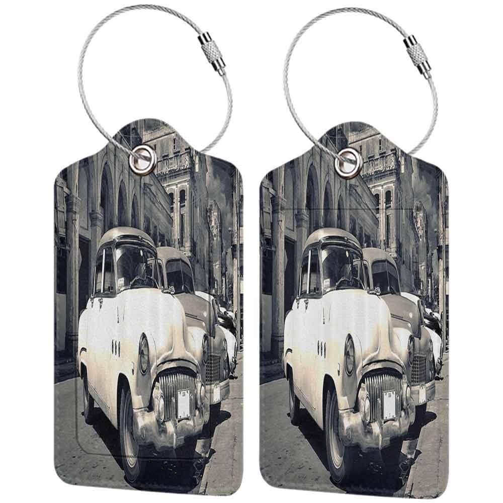 Waterproof luggage tag Old Car Decorations Panoramic View of Shabby Old Havana Street with Vintage Classic American Cars Soft to the touch Grey Beige W2.7 x L4.6