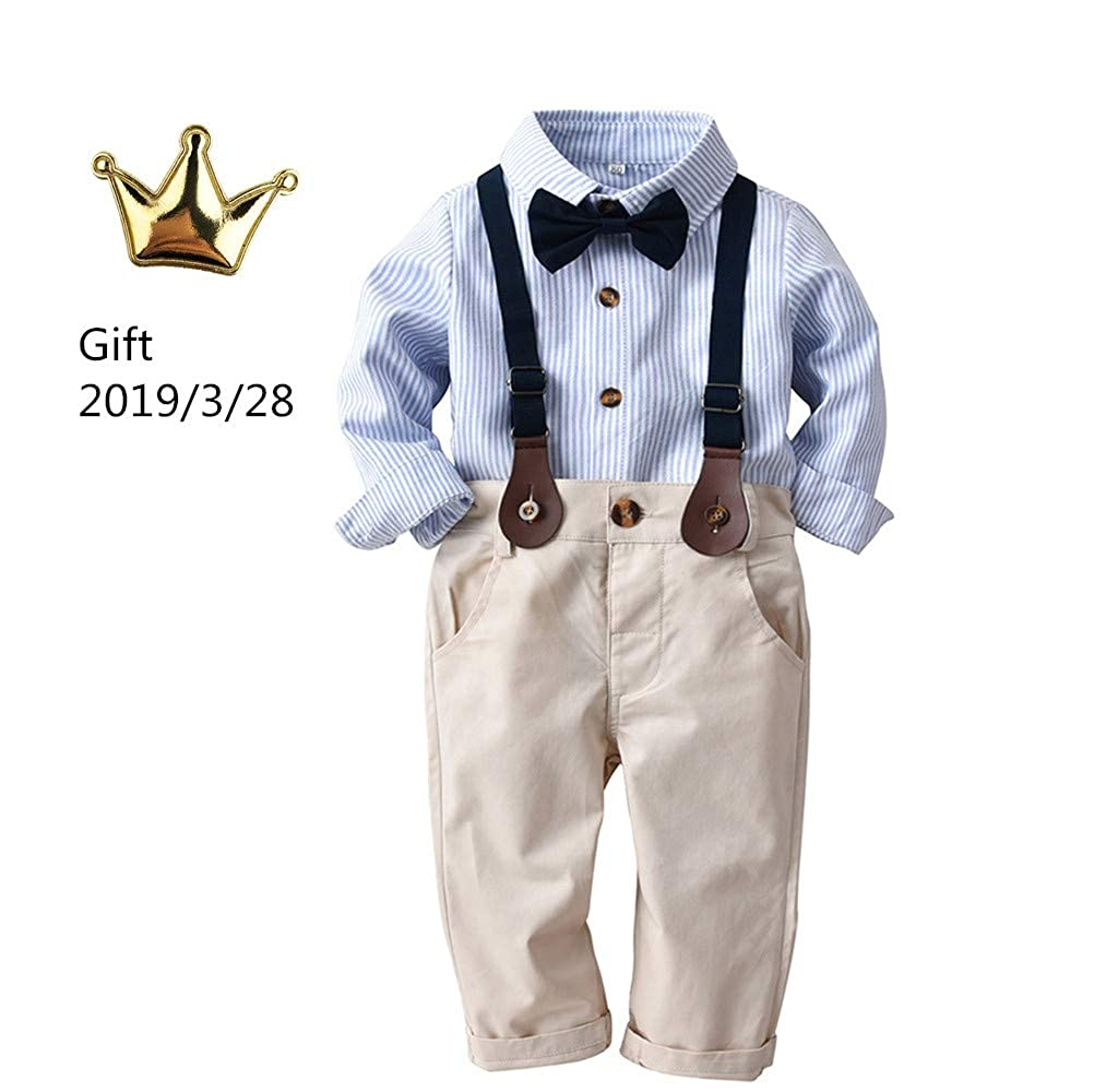 f4251d13553f Amazon.com: GoodLock Baby Boys Gentleman Clothes Toddler Striped Bowtie Long  Sleeve Shirt+Overall Pants Outfits 4Pcs: Clothing