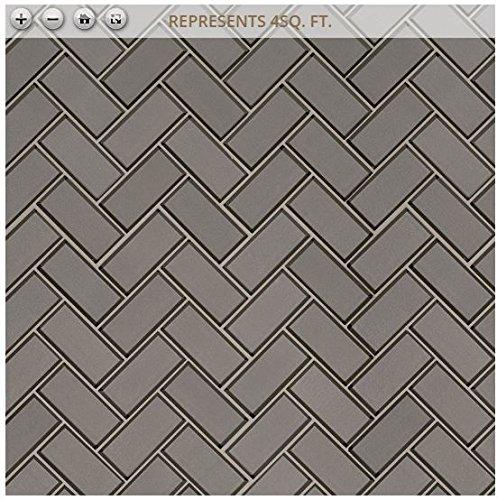 Champagne Bevel Herringbone 11.08 in. x 13.86 in. x 8 mm Glass Mesh-Mounted Mosaic Tile (2''x4'' Mosaic Chips)