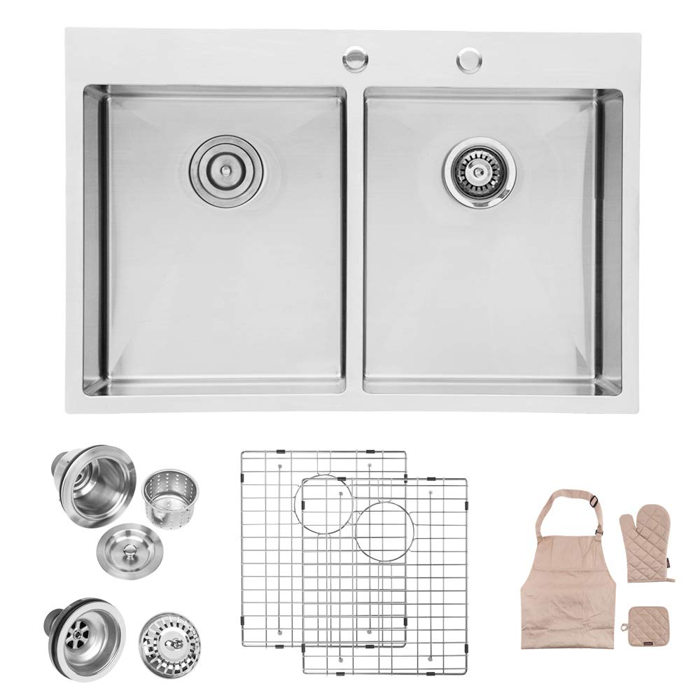 Lordear 33 x 22 Inch Drop-in Topmount 50 50 Double Bowl 16 Gauge R10 Tight Radius Stainless Steel Kitchen Sink