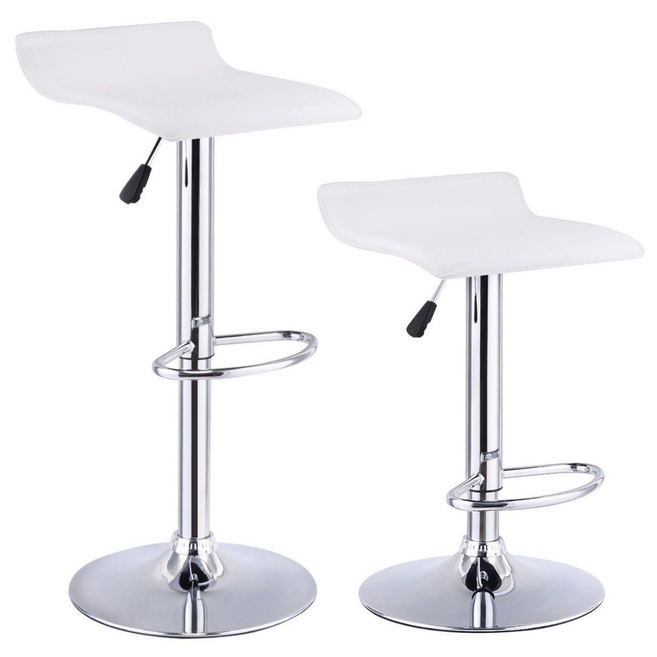 Set Of 2 Swivel Bar Stools Adjustable Waterproof Anti-aging PU Leather Backless Dining Bar Chair Square White #715