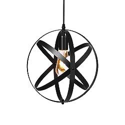 HEBOLEN Industrial Vintage Ceiling Pendant Light, Retro Metal Spherical Globe Black Hanging Edison Light Fixture For Kitchen Island Bedroom Hallway Dining Room Table Farmhouse Chandelier Lighting …