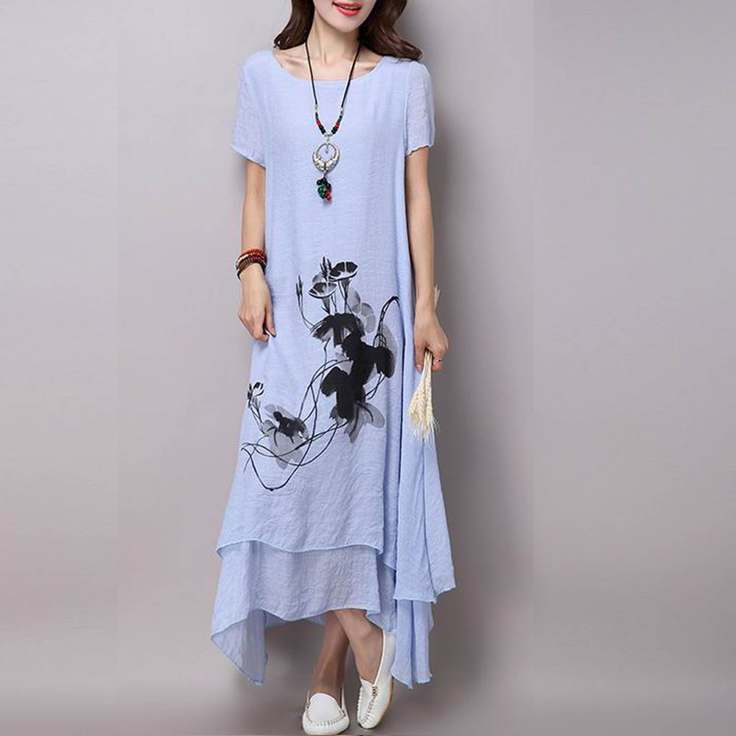 Unique-Shop fsize Vintage Print Women Casual Loose Long Summer Dress Vestidos Femininos Party 2017 Dresses at Amazon Womens Clothing store: