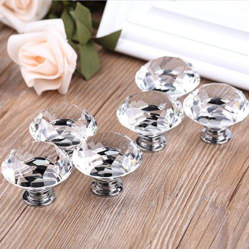 YDO 40mm Diamond Shape Crystal Glass Knob, 6 Pieces, Clear