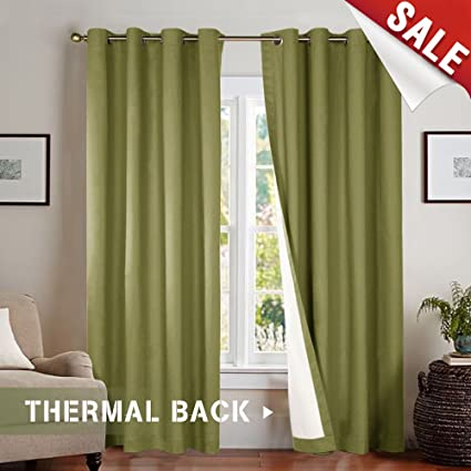 Beau Jinchan Room Darkening Lined Blackout Curtains 84 Inches Long, Thermal  Insulated Living Room Window Drapes