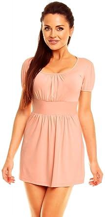 Zeta Ville- Damen Jersey Empire-Taille Shirt Kurzarm Tunika-Top Gr. 38