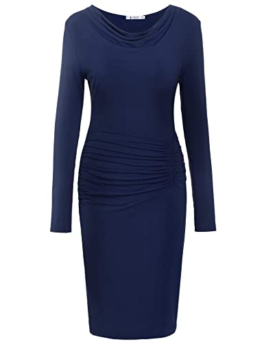 ANGVNS Women's Cowl Neck Long Sleeve Pleated Fitted Pencil Bodycon Sheath Midi Dress