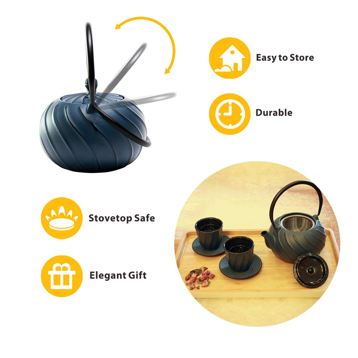 Tea Kettle, TOPTIER Japanese Cast Iron Teapot with Stainless Steel Tea Infuser | Durable Cast Iron Kettle Set [Wave Design] Coated with Full Enameled Interior for 30 Ounce / 900 ml, Navy Blue
