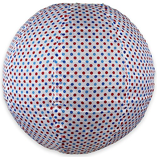 """Price comparison product image Just Artifacts 12"""" Round Faux Silk Hanging Chinese Lantern Decorative Lampshade (White-Red & Blue Polka Dot Pattern)"""