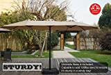 Kozyard Butterfly 14' Outdoor Patio Double-Sided Aluminum Umbrella with Crank and Base (Beige)