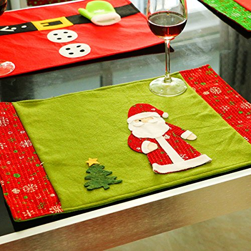 Christmas Placemats, Zubita Knife Fork Placemat Christmas Santa Snowflake Table Mat Christmas Home Dinner Party Pub Festival Decoration Christmas Decorations For Pubs