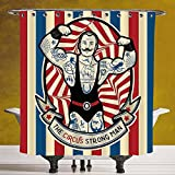 Decorative Shower Curtain 3.0 [Circus Decor,Nostalgic Icon the Strong Man with Tattoos and Muscles Circus Star Fun Art Print,Beige Red Blue] Polyester Fabric Bath Decorative Curtain Ideas