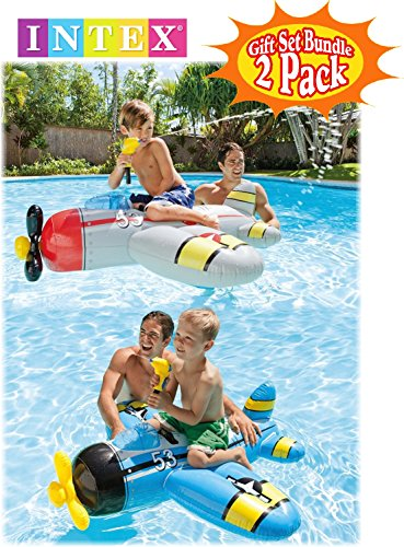 """Review Intex Water Gun Squirter Fighter Plane Ride-On Pool Floats Red/Gray & Blue/Yellow Gift Set Bundle with Bonus """"Matty's Toy Stop"""" 16″ Beach Ball – 2 Pack"""