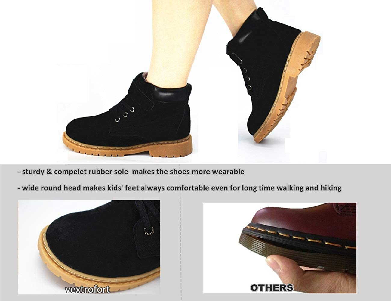 Little Kids//Big Kids Khaki//Black Vextrofort Kids Boots Winter Outdoor Waterproof Hiking Leather Boot for Boys Girls