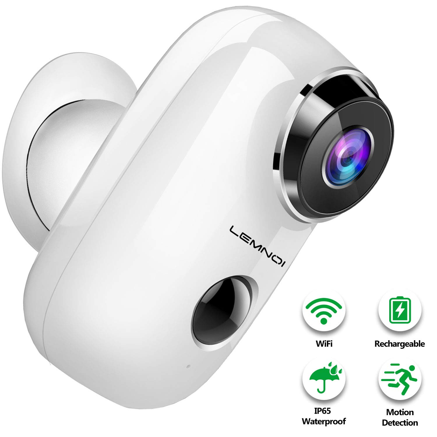 Ctronics 1080P Outdoor Security Camera Rechargeable Powered Battery WiFi IP Camera with Motion Detection Night Vision IP66 Waterproof Built-in Micro SD Slot Support 2.4G WiFi