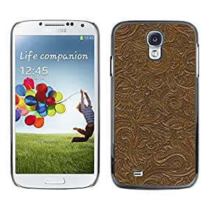 Caucho caso de Shell duro de la cubierta de accesorios de protección BY RAYDREAMMM - Samsung Galaxy S4 I9500 - Pattern Wall Design Plants Leaves Brown