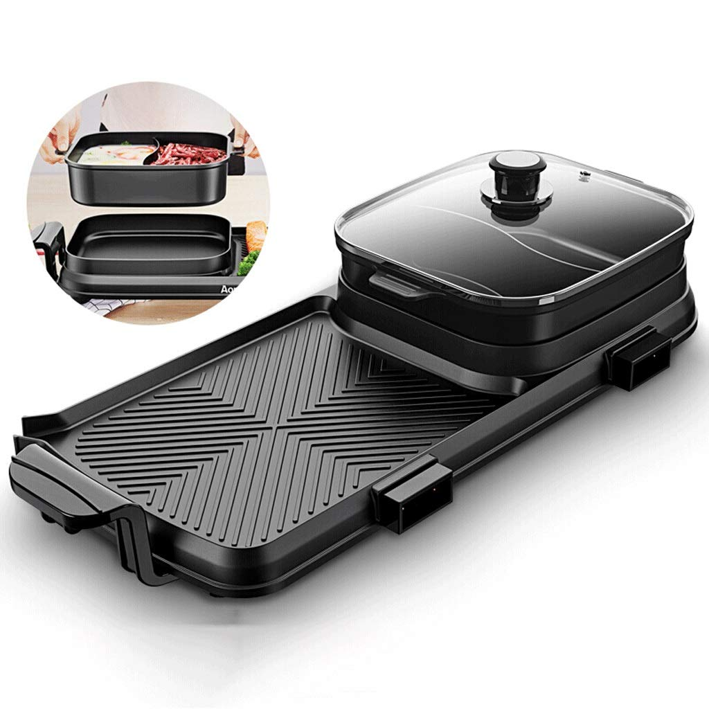 WSJTT Large Multi Cooker | Electric Frying Pan with Glass Lid,Multifunction Two-in-one Electric Smokeless Non-stick Barbecue Grilled Shabu-shabu Electric Baking Pan Dual Temperature Control 2200W,Squa by WSJTT (Image #1)