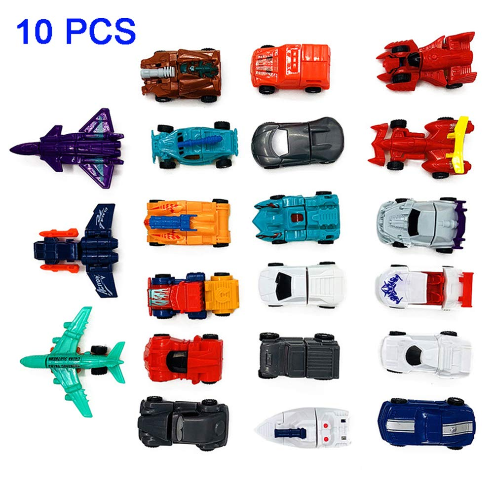 BeesClover 10 Pcs//set Transformation Cars Kid Classic Robot Car Toys Action /& Toy Figures Education Toy