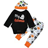 Halloween Baby Unisex Boys Girls Outfits, My First Halloween Lovely Pumpkin Bodysuits Pants Hat, 3pcs Set Best Halloween Gift (12-18M, B)