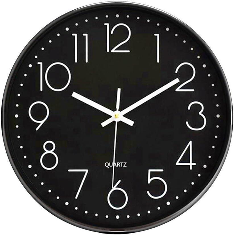Foxtop Moderno Silencioso Grandes Decorativos Cuarzo Redondo Reloj de Pared sin Tic TAC para Cocina Dormitorio Escuela Oficina Sala de Estar, Negro, Ø: 30 cm