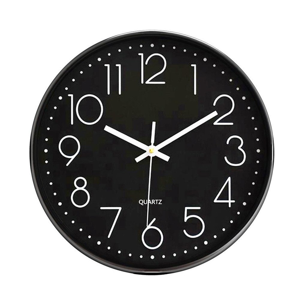 Foxtop 12 inch Indoor Non-Ticking Silent Quartz Modern Simple Wall Clock Digital Quiet Sweep Movement Office Decor FT12BDWN