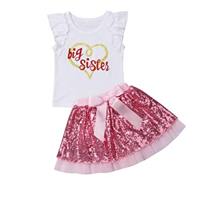 5a657144 Amazon.com: Toddler Baby Kid Girls Big Sister Short Sleeve T-Shirt ...