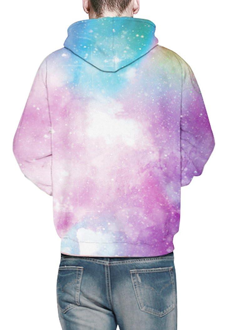 Prettyard Men Women Pink Galaxy Stars Casual Couple Lover Hooded Sweatshirt Unisex