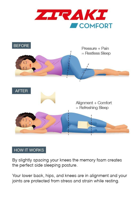 ziraki cuña de espuma con efecto memoria Contour ortopédica rodilla cojín para ciática nervio, espalda, pierna, cadera, y dolor en las articulaciones, ...
