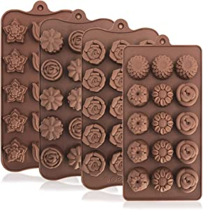 4 Pack Flower Shape Silicone Molds Chocolate Candy Mold, DanziX Silicone Mold for Wedding,Festival, Parties, DIY Enthusiasts-15 Cavity