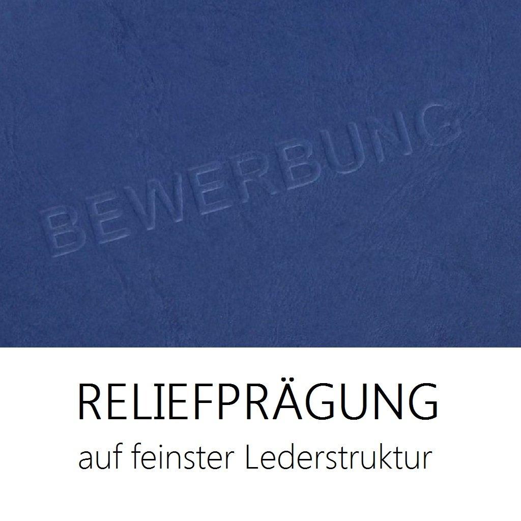 """10 Stück 3-teilige Bewerbungsmappen blau mit 2 Klemmschienen in feinster  Lederstruktur // hochwertige Prägung"""" BEWERBUNG"""" // direkt vom Hersteller  STRATAG®: ..."""