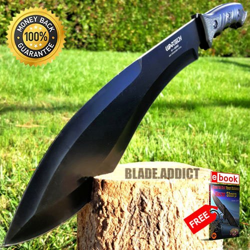 Blade Machete Kukri Fixed (18'' SURVIVAL HUNTING Full Tang Kukri FIXED BLADE KNIFE Machete Axe SHEATH For Hunting Tactical Camping Cosplay + eBOOK by MOON KNIVES)
