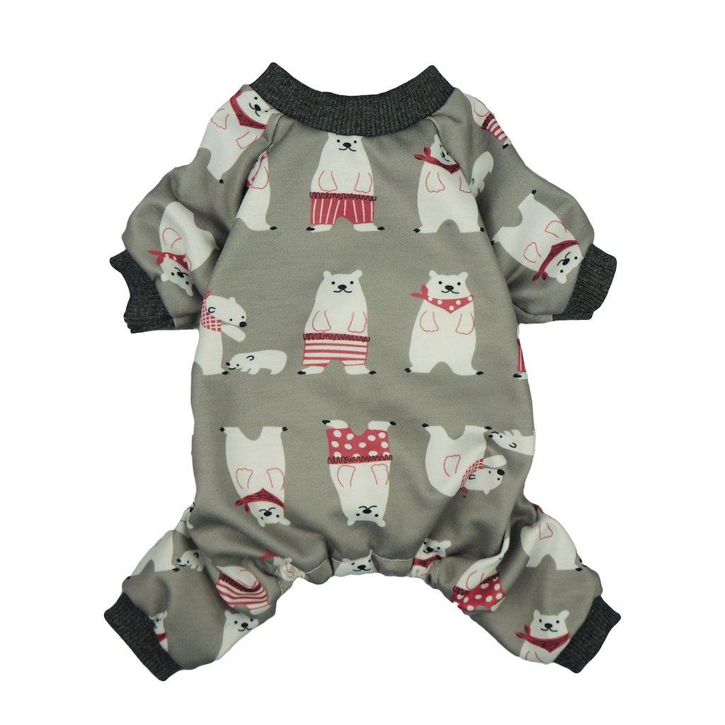 Fitwarm Polarbear Pet Clothes for Dog Pajamas Shirts Jumpsuit Grey Cotton Large