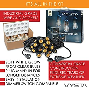 Vysta 52 Feet LED Outdoor Patio String Lights – Industrial Grade Wire Strand, 17 Clear Bulbs and Sockets, Daisy Chain Outlet - Soft White Glow – Dimmer Switch Compatible – by