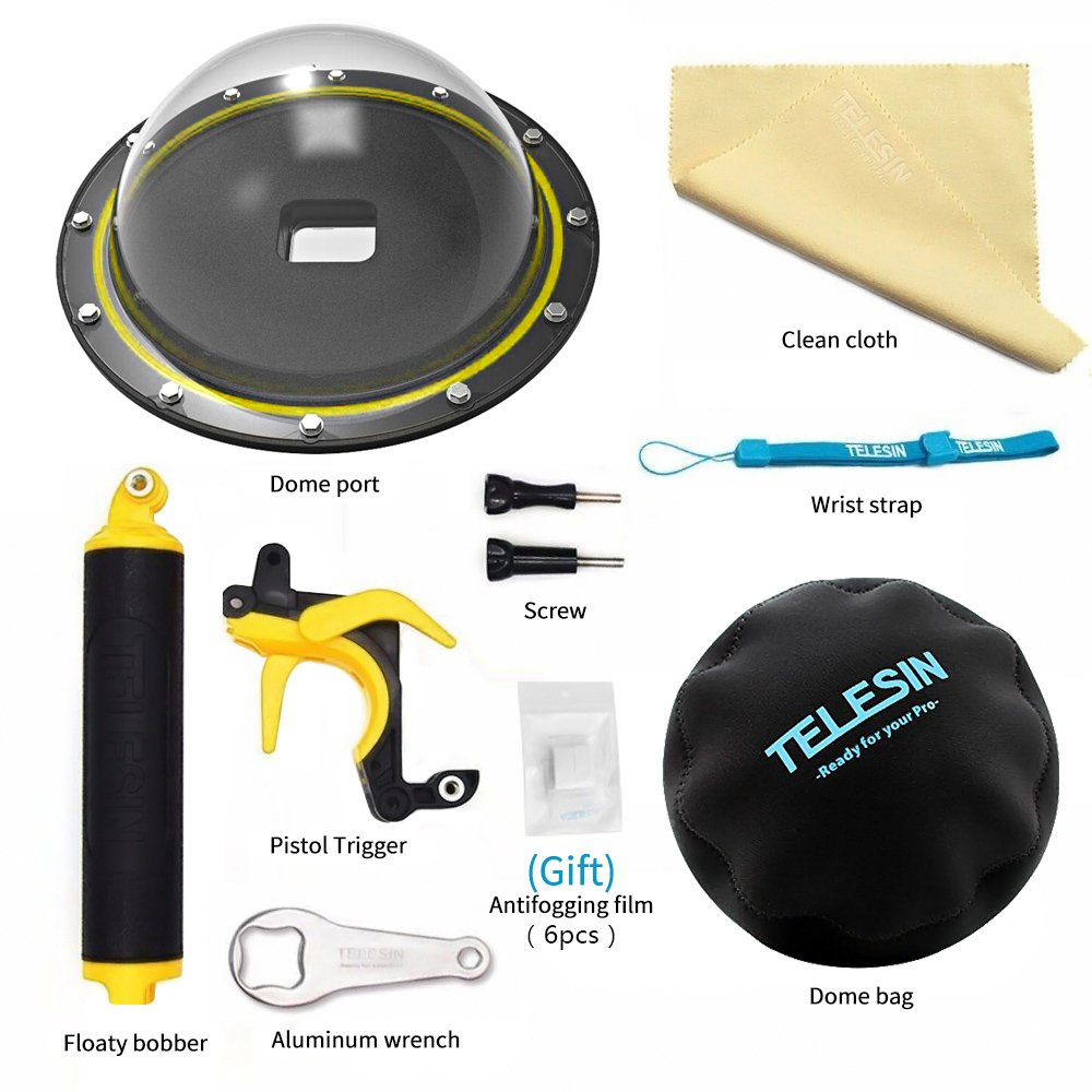 TELESIN 6'' T05 Underwater Dome Port Housing Waterproof Lens Hood Dome Diving with Dome Storage Bag,Floating Hand Grip and Pistol Trigger for Gopro Hero 6 5 Black by TELESIN