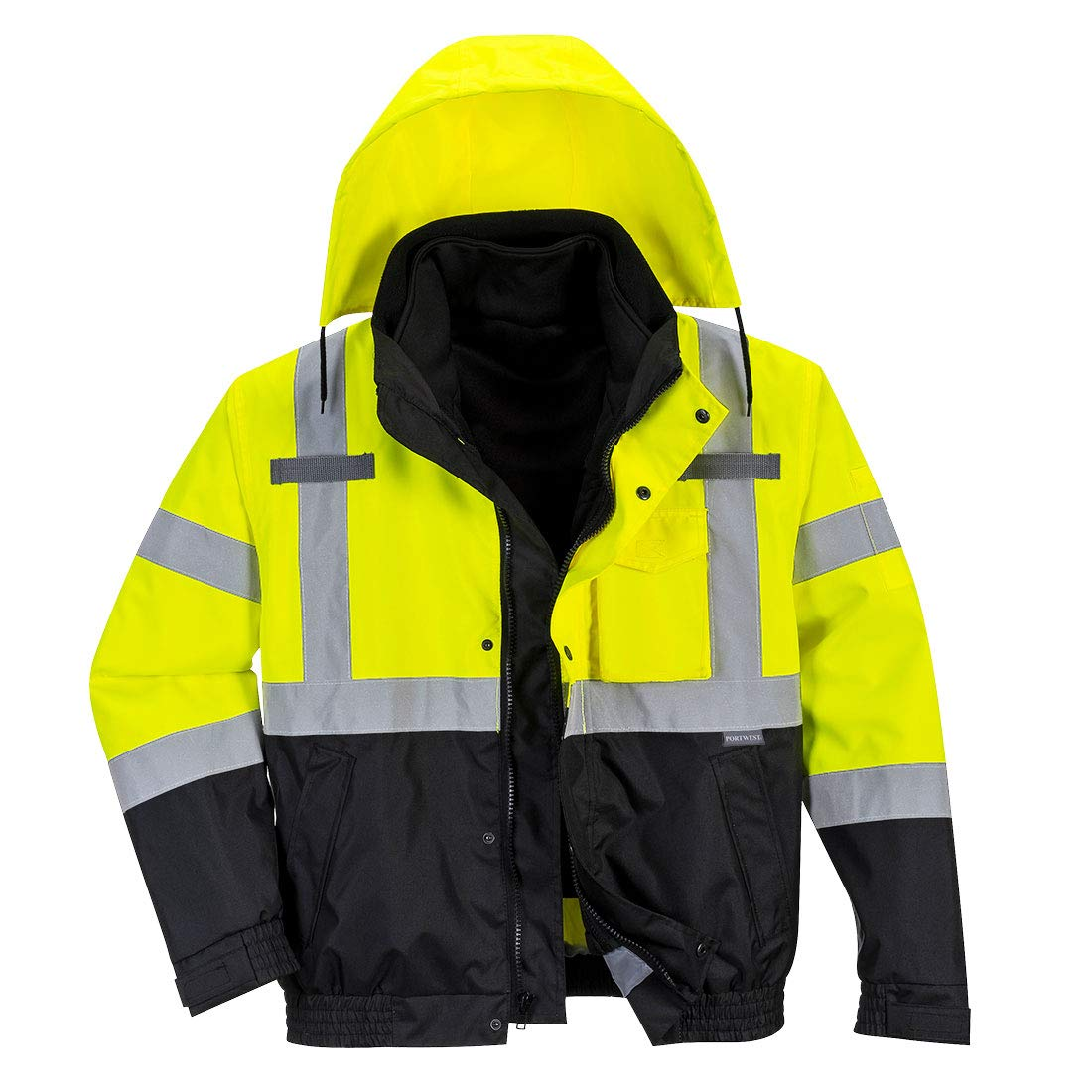 Portwest US365 Hi-Vis 3in1 Premium Bomber Jacket Textile, Size- 6X-Large, Yellow/Black by Portwest